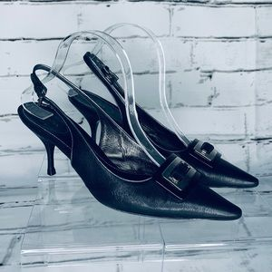 Prada Pointy Kitten Heel Leather Sling Back Heels
